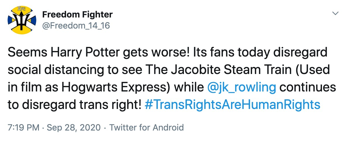 Seems Harry Potter gets worse! Its fans today disregard social distancing to see The Jacobite Steam Train (Used in film as Hogwarts Express) while  @jk_rowling  continues to disregard trans right! #TransRightsAreHumanRights