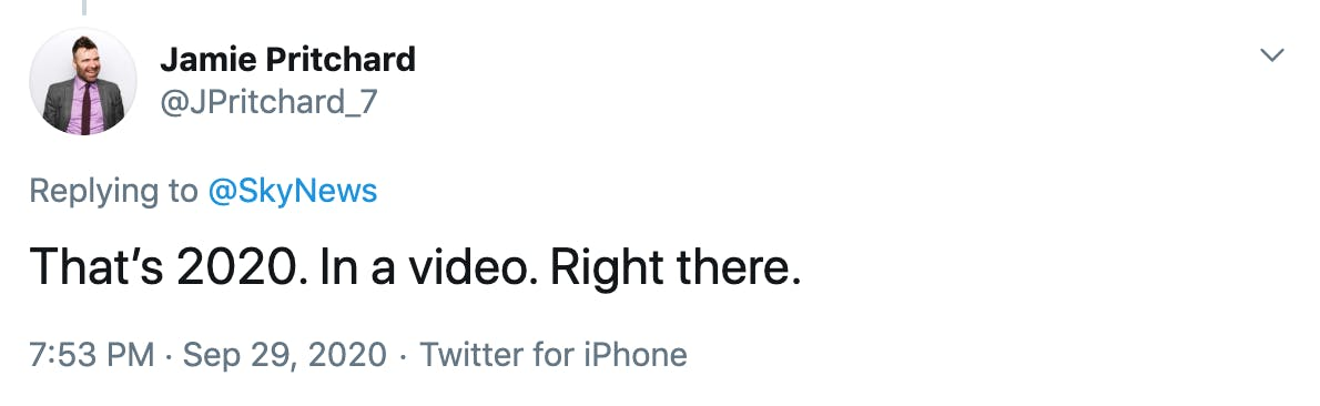 That's 2020. In a video. Right there.