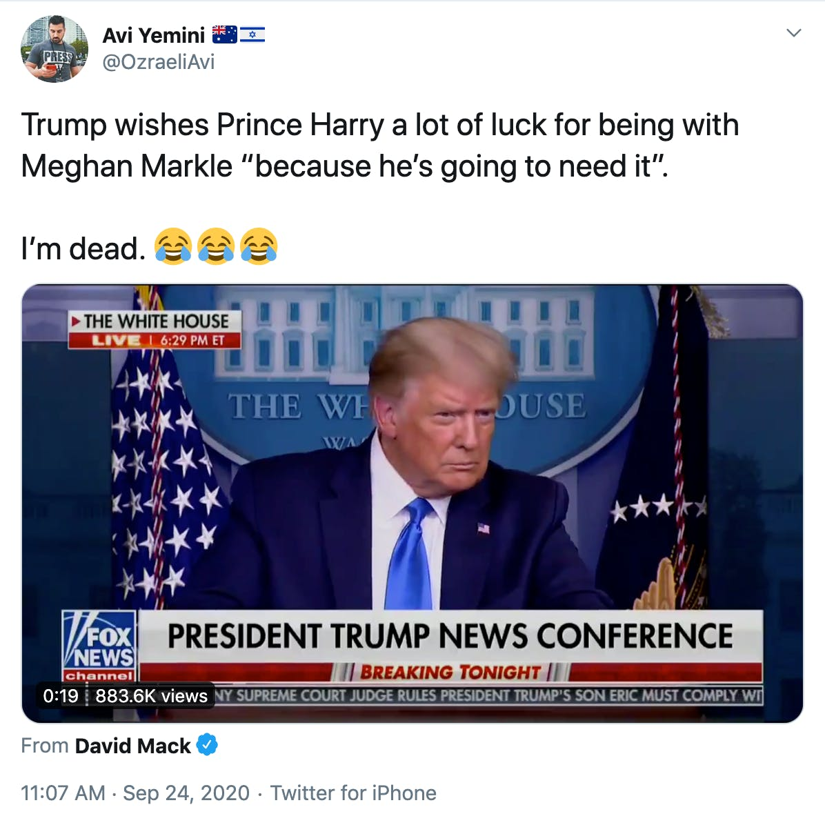 "Trump wishes Prince Harry a lot of luck for being with Meghan Markle ""because he's going to need it"".  I'm dead. Face with tears of joyFace with tears of joyFace with tears of joy"
