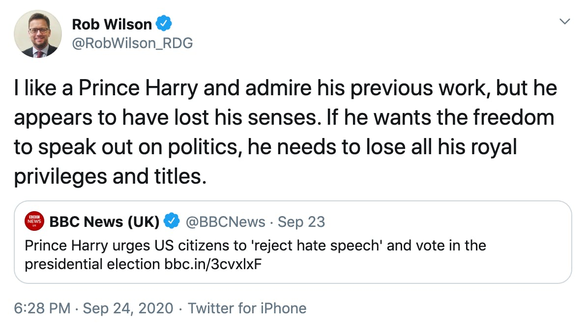 I like a Prince Harry and admire his previous work, but he appears to have lost his senses. If he wants the freedom to speak out on politics, he needs to lose all his royal privileges and titles.