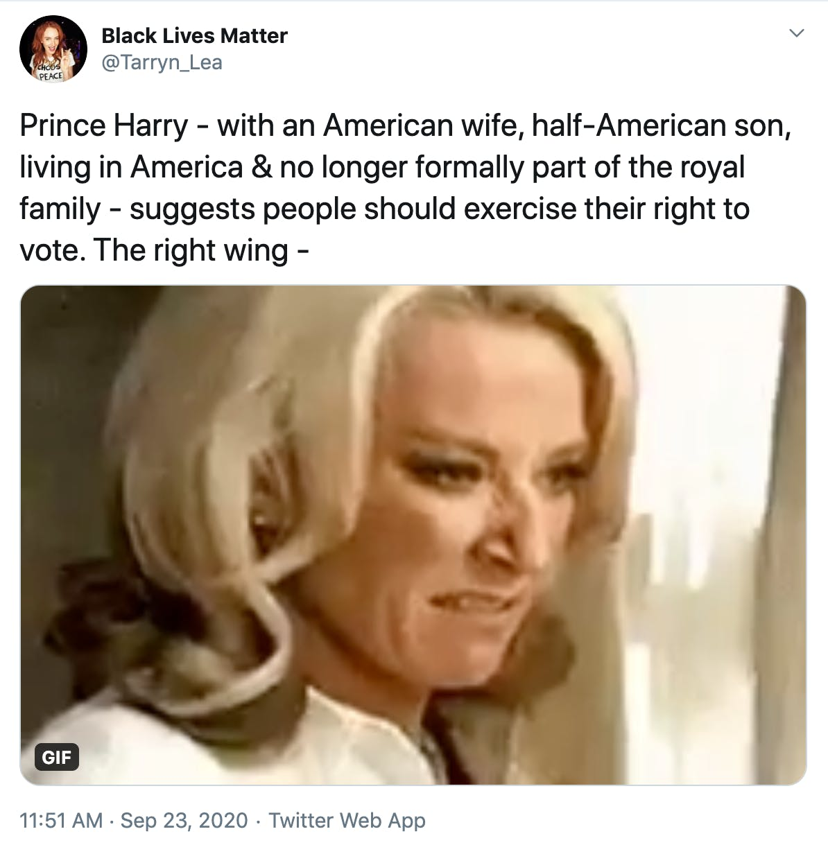 """Prince Harry - with an American wife, half-American son, living in America & no longer formally part of the royal family - suggests people should exercise their right to vote. The right wing -"" gif of blonde woman smashing things"