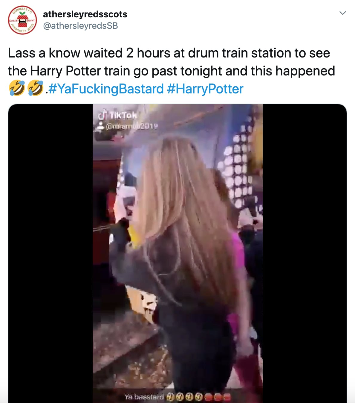 """""""Lass a know waited 2 hours at drum train station to see the Harry Potter train go past tonight and this happened Rolling on the floor laughingRolling on the floor laughing.#YaFuckingBastard #HarryPotter"""" embedded tiktok shared above"""