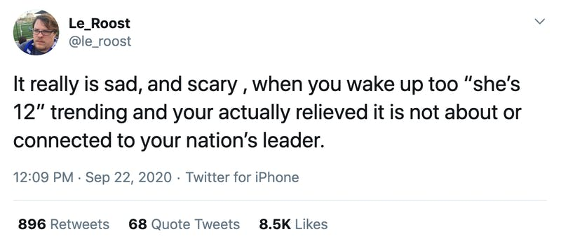 """It really is sad, and scary , when you wake up too """"she's 12"""" trending and your actually relieved it is not about or connected to your nation's leader."""