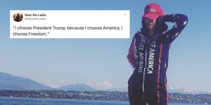 Noor Bin Laden next to a tweet praising Donald Trump