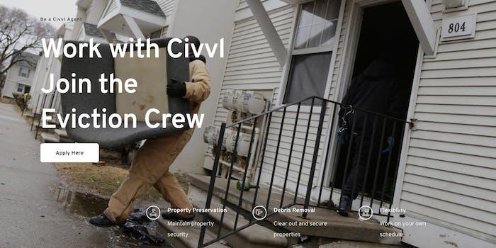 Civvl website advertises eviction gig