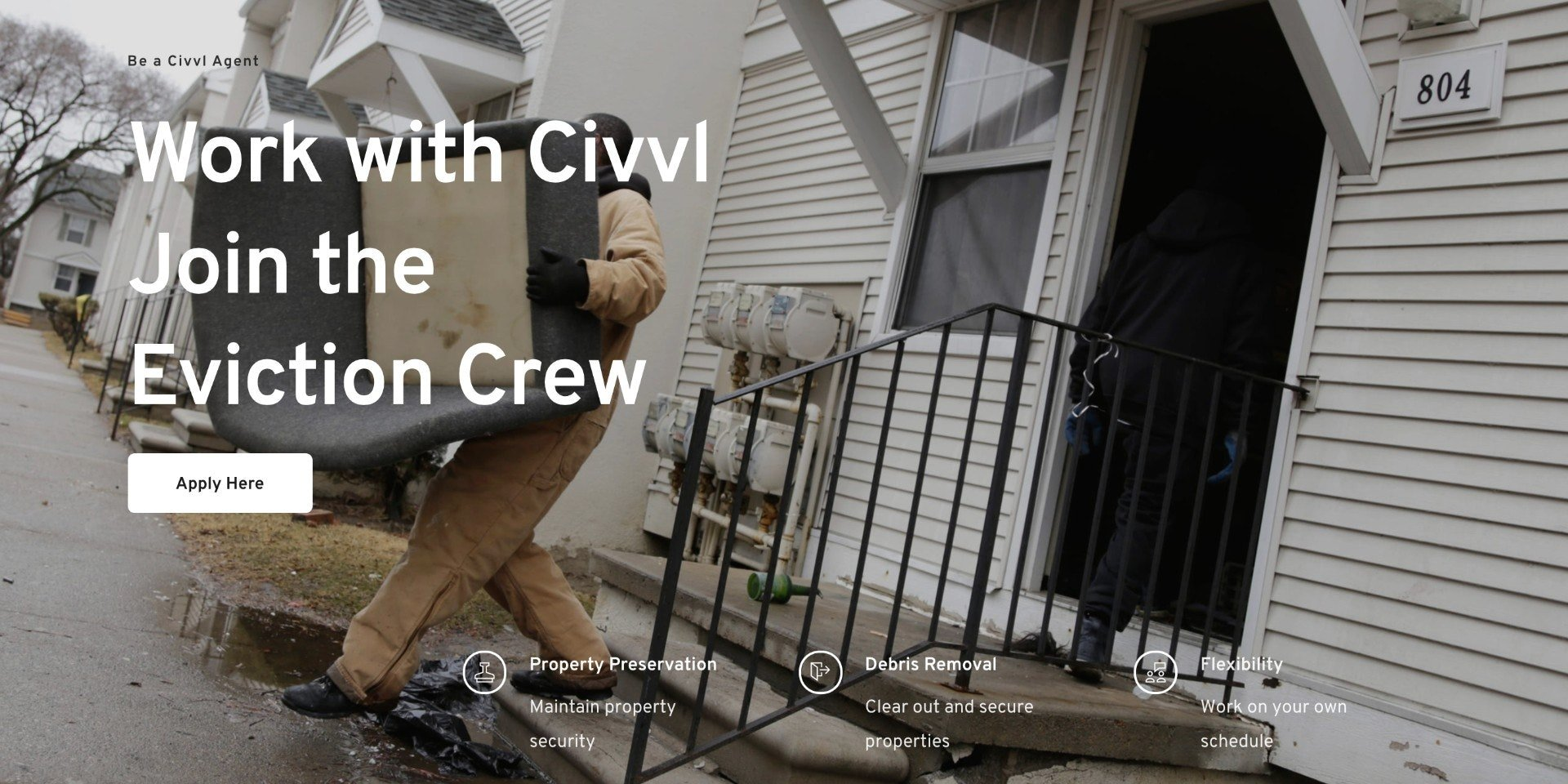 Civvl website advertises eviction gig