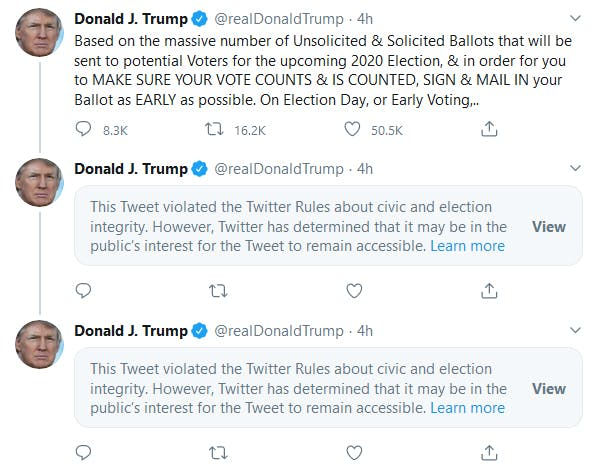 Donald Trump Tweets Mail In Ballots Twice