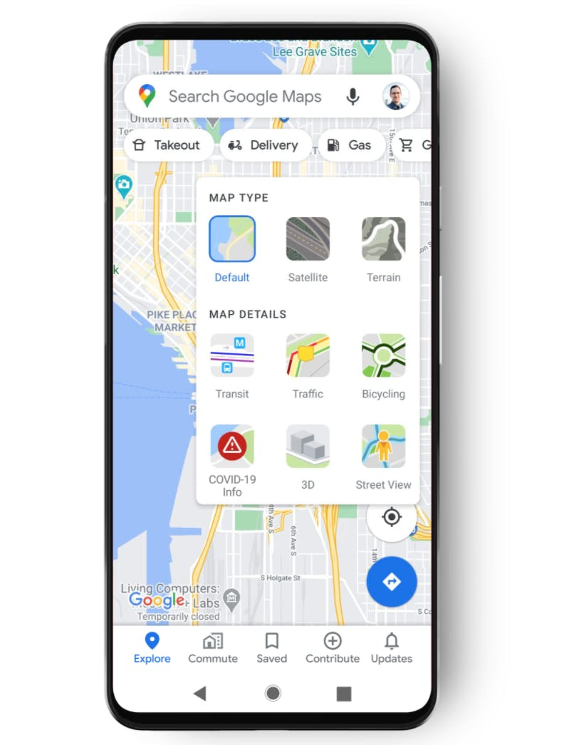 Google's COVID map is featured as a layer similar to transit or bike