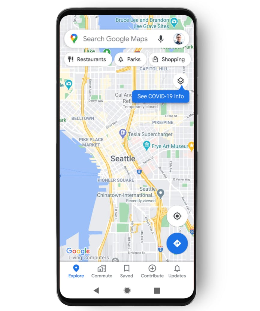 Google's COVID map is located with map details