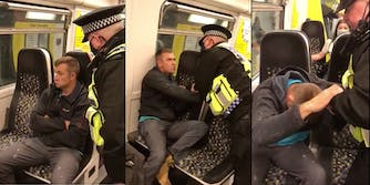 Maskless man fights with a train officer and refuses to wear a mask