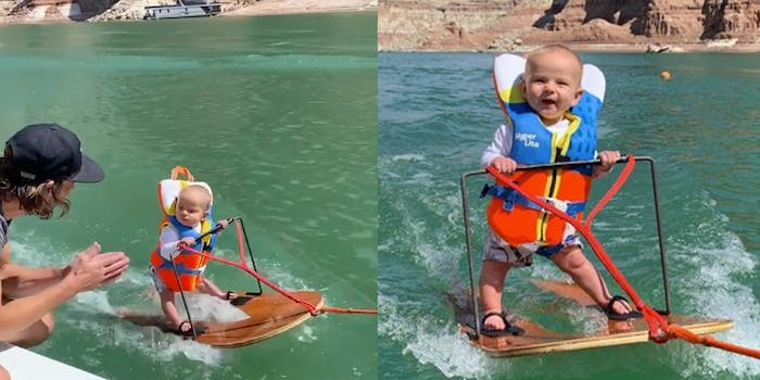 waterskiing infant