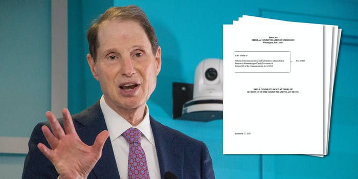 Ron Wyden Christopher Cox FCC Comment Section 230 FCC