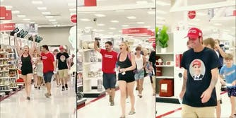 A video of about 7 protestors parading Target telling customers to take their masks off.