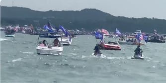 pro-Trump boaters on a lake in Texas