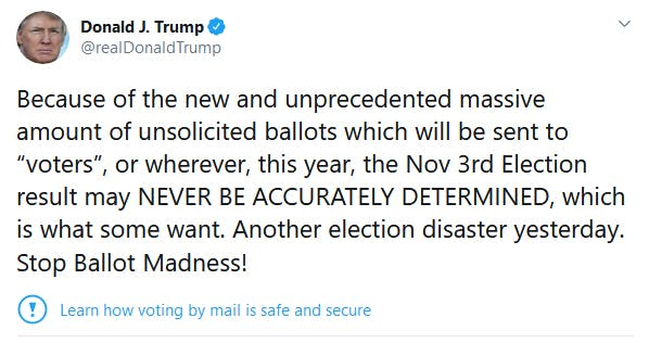 Trump Mail Voting Tweet Accurately Determined