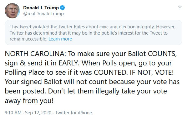 Trump Twitter Tweet North Carolina Ballot Counts
