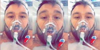 a man wearing an oxygen mask in a hospital