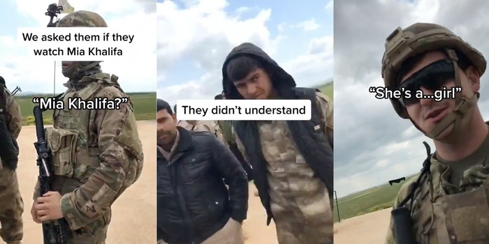 A TikTok video of U.S. Soldiers talking about Mia Khalifa