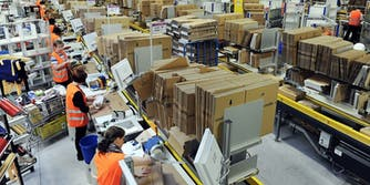The inside of an Amazon warehouse