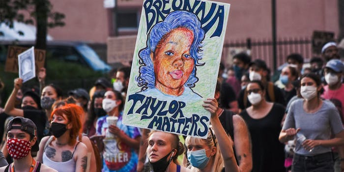 A protest sign showing Breonna Taylor