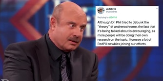 Dr. Phil next to a tweet