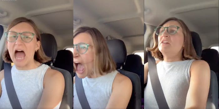 A woman freaking out over RBG's death
