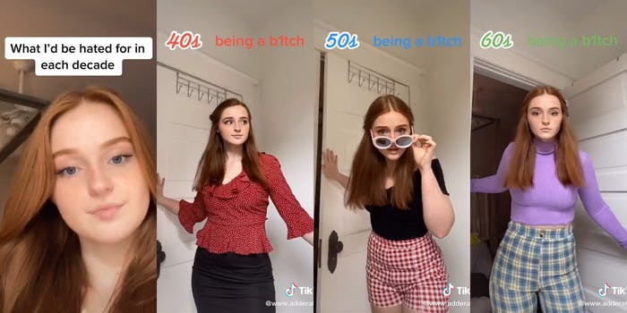 girl dressing in outfits from different eras