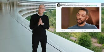 Apple CEO Tim Cook next to a tweet