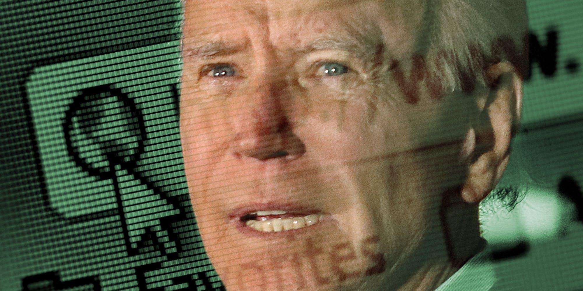 Joe Biden over internet browser background