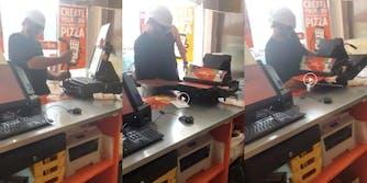 little caesars robber struggles to open register