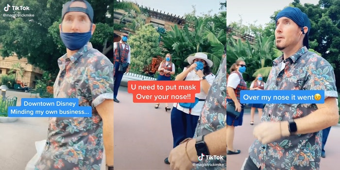 man walks through downtown disney with mask off of nose, takes it off entirely when asked to wear it properly