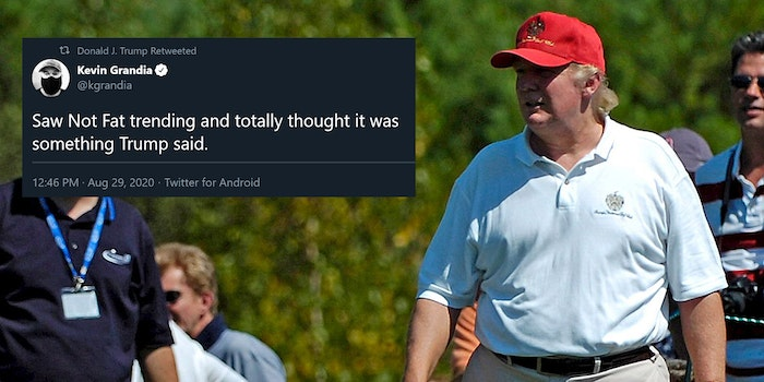 """Donald Trump golfing with """"Saw Not Fat trending and totally thought it was something Trump said."""" tweet"""