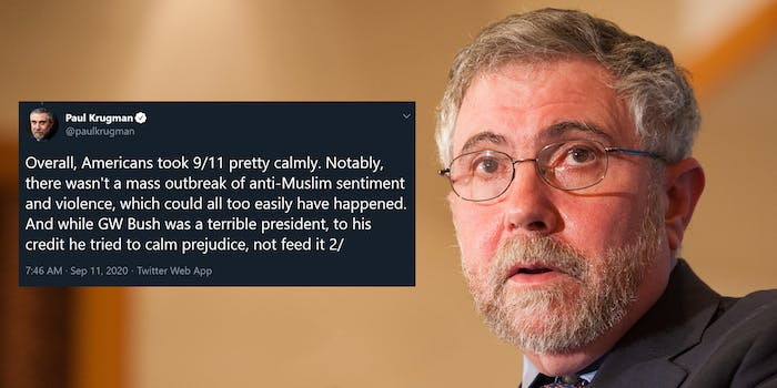 """Paul Krugman """"Overall, Americans took 9/11 pretty calmly. Notably, there wasn't a mass outbreak of anti-Muslim sentiment and violence, which could all too easily have happened. And while GW Bush was a terrible president, to his credit he tried to calm prejudice, not feed it"""" tweet"""