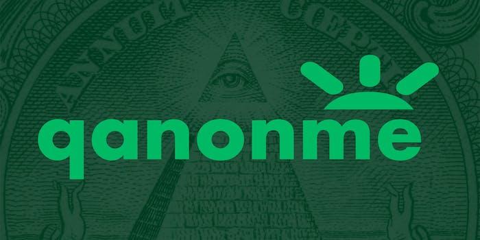 "gofundme logo made to say ""qanonme"""
