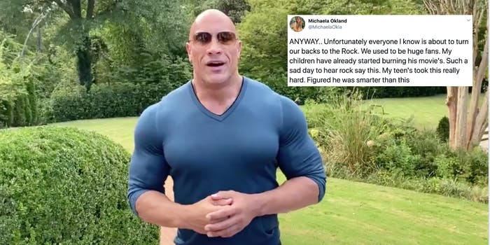 The Rock next to a tweet