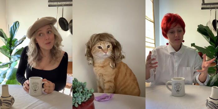 woman recreating sex and the city with her cat