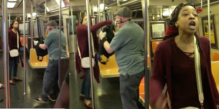 A woman assaults an old man on a train over a mask dispute