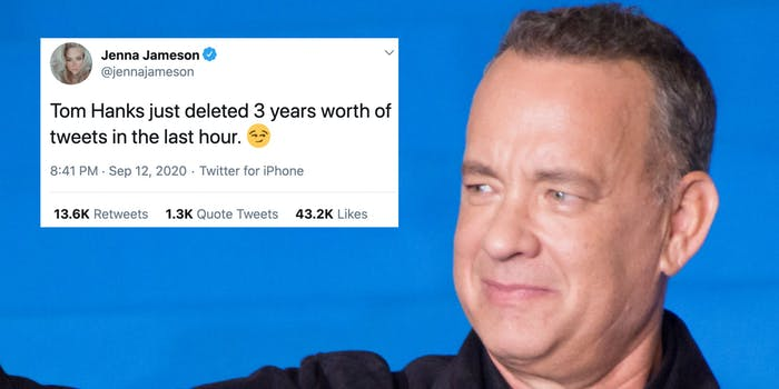 Hollywood actor Tom Hanks next to a tweet from Jenna Jameson