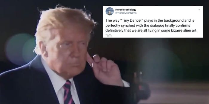 Trump with his hand to his ear next to a tweet