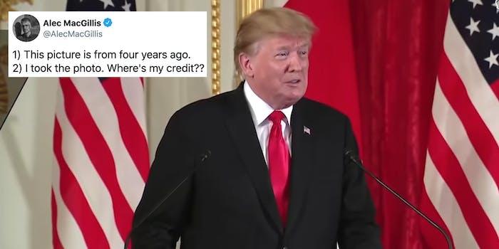 Donald Trump next to a tweet