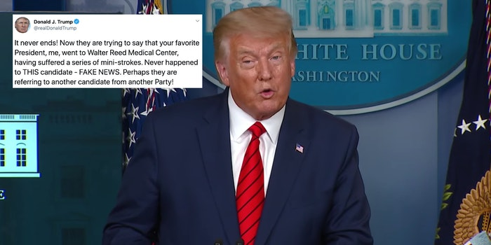 President Donald Trump next to a tweet