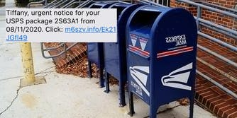 USPS mailboxes next to a phishing scam
