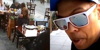 "black man rants about ""white lives matter"" on crowded restaurant sidewalk"