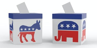 election night coverage 2020 election democratic and republican symbols on ballot boxes