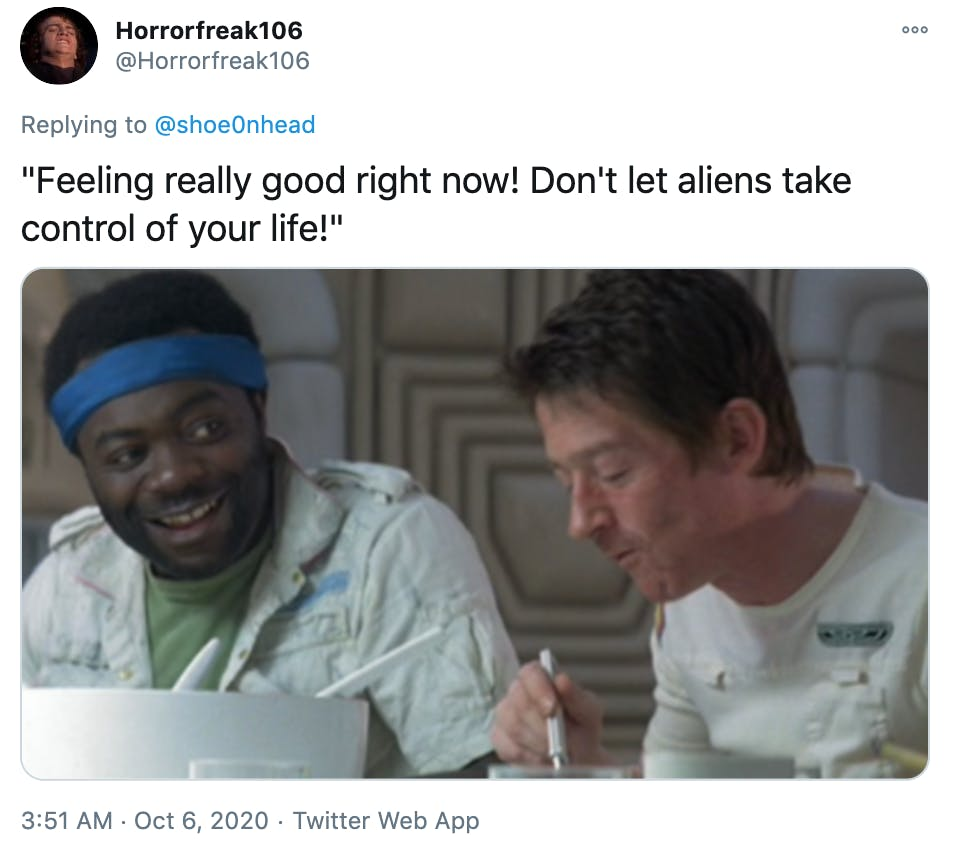 """""""""""Feeling really good right now! Don't let aliens take control of your life!"""""""" screen grab of the space marines from Alien"""
