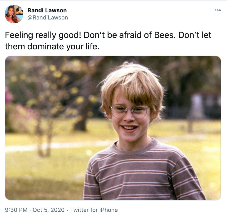 """""""Feeling really good! Don't be afraid of Bees. Don't let them dominate your life."""" screen grab of Macauley Culkin smiling from My Girl"""
