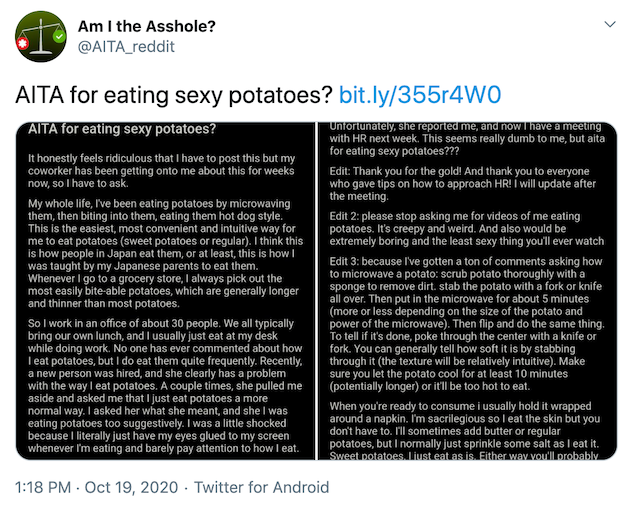 """""""AITA for eating sexy potatoes? https://bit.ly/355r4W0"""" screenshot of post linked in paragraph"""