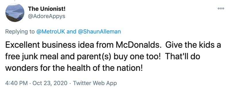 Excellent business idea from McDonalds.  Give the kids a free junk meal and parent(s) buy one too!  That'll do wonders for the health of the nation!