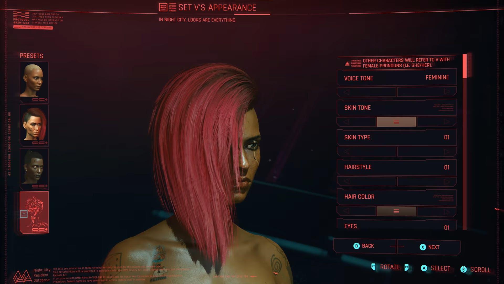 Cyberpunk 2077 Transphobic Character Creation