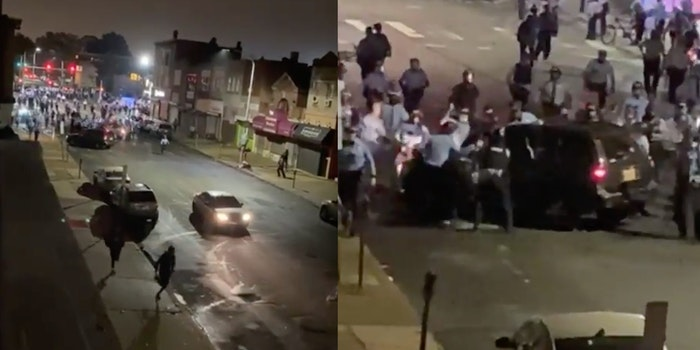 Philly police seen surrounding a car and then smashing it